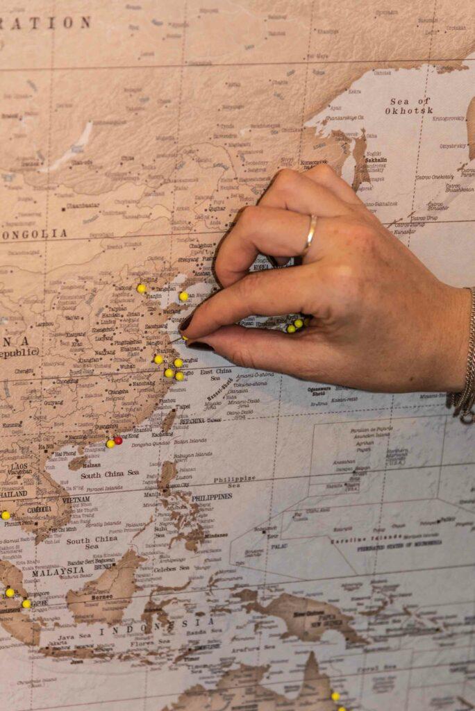 Stecknadeln Pins Pinnwand Weltkarte